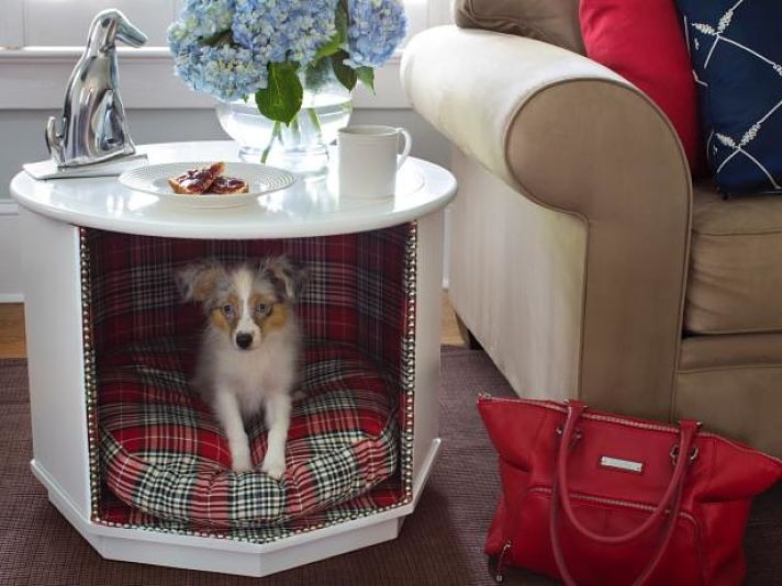 DIY end table with dog bed