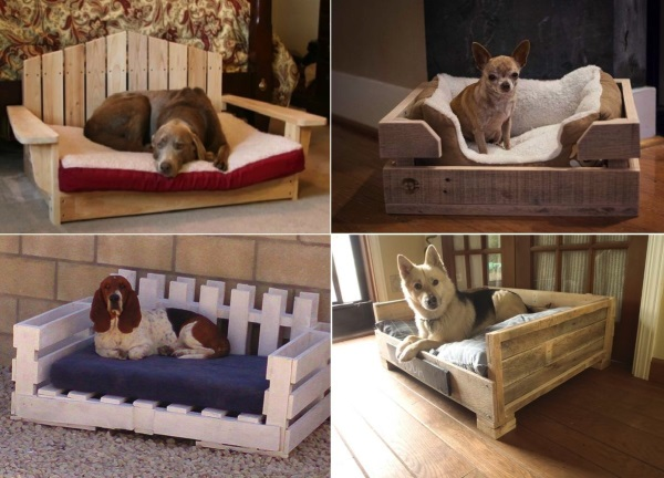 DIY dog bed from wooden pallets