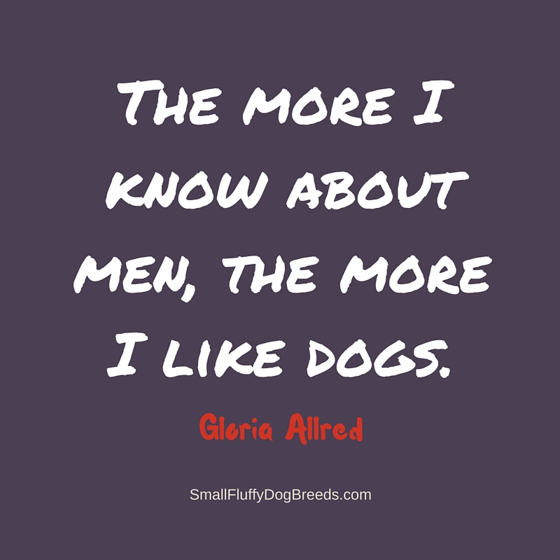 Funny dog quotes - The more I know about men, the more I like dogs - Gloria Allred